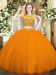 Orange Red Sleeveless Floor Length Beading Zipper Sweet 16 Dress