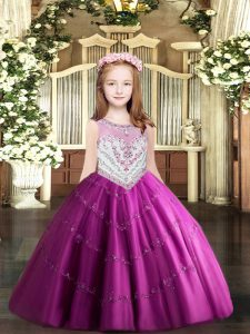 Graceful Sleeveless Tulle Floor Length Zipper Pageant Dress Womens in Fuchsia with Beading and Appliques