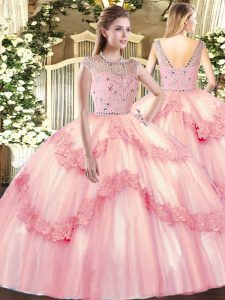 Custom Designed Tulle Bateau Sleeveless Zipper Beading and Appliques 15 Quinceanera Dress in Baby Pink