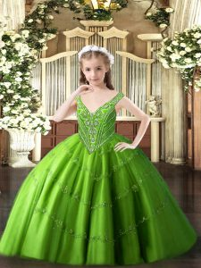 Ball Gowns Winning Pageant Gowns Green V-neck Tulle Sleeveless Floor Length Lace Up