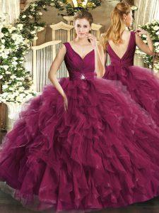 Floor Length Burgundy Quinceanera Gown V-neck Sleeveless Backless