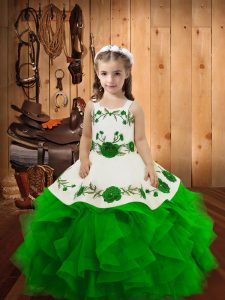 Adorable Green Straps Neckline Embroidery and Ruffles Pageant Dress Toddler Sleeveless Lace Up