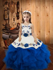 Blue Straps Neckline Embroidery and Ruffles High School Pageant Dress Sleeveless Lace Up