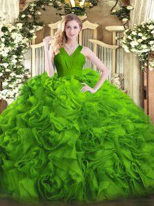 Sleeveless Ruffles Floor Length Quinceanera Gowns