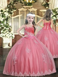 Floor Length Lace Up Kids Formal Wear Watermelon Red for Party and Sweet 16 and Quinceanera and Wedding Party with Appliques