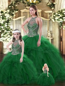 Floor Length Ball Gowns Sleeveless Dark Green Quinceanera Dresses Lace Up