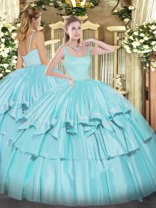 Luxurious Sleeveless Organza and Taffeta Floor Length Zipper Ball Gown Prom Dress in Aqua Blue with Beading and Ruffled Layers