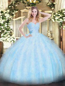 Light Blue Sleeveless Beading and Ruffles Floor Length 15th Birthday Dress