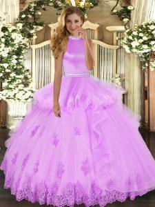 Dazzling Lilac Sweet 16 Quinceanera Dress Military Ball and Sweet 16 and Quinceanera with Beading and Ruffles Halter Top Sleeveless Backless