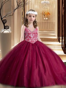 Cheap Wine Red Ball Gowns V-neck Sleeveless Tulle Floor Length Lace Up Beading and Appliques Kids Formal Wear