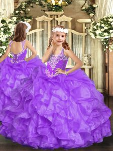 Wonderful Lavender Sleeveless Organza Lace Up High School Pageant Dress for Party and Quinceanera