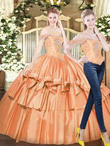 Orange Red Sleeveless Beading and Ruffled Layers Floor Length 15th Birthday Dress