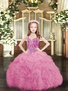 Pretty Rose Pink Organza Lace Up Spaghetti Straps Sleeveless Floor Length Kids Pageant Dress Beading and Ruffles and Pick Ups