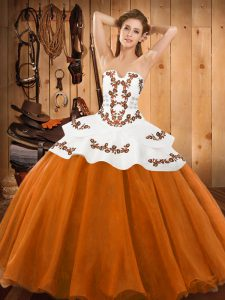 Fantastic Orange Red Ball Gowns Strapless Sleeveless Tulle Floor Length Lace Up Embroidery Sweet 16 Quinceanera Dress