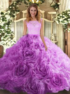 Lilac Fabric With Rolling Flowers Zipper Quinceanera Dresses Sleeveless Floor Length Lace