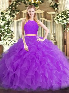 Affordable Eggplant Purple Tulle Zipper Quince Ball Gowns Sleeveless Floor Length Ruffles
