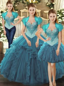 Tulle Sleeveless Floor Length Sweet 16 Dresses and Beading and Ruffles