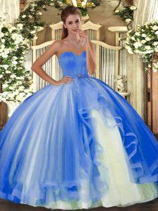 Baby Blue Lace Up Sweet 16 Dress Beading Sleeveless Floor Length