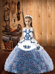 Enchanting Floor Length Lace Up Winning Pageant Gowns Multi-color for Sweet 16 and Quinceanera with Embroidery