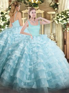 Sleeveless Beading and Ruffled Layers Zipper Sweet 16 Quinceanera Dress
