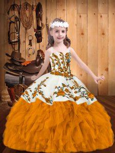 Embroidery and Ruffles Little Girls Pageant Dress Gold Zipper Sleeveless Floor Length