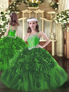 Sweet Beading and Ruffles High School Pageant Dress Dark Green Lace Up Sleeveless Floor Length