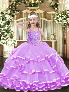 Elegant Lilac Pageant Dress Wholesale Party and Quinceanera with Beading and Ruffled Layers Straps Sleeveless Lace Up