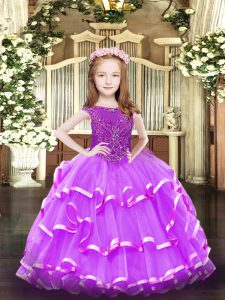 Scoop Sleeveless Zipper Little Girls Pageant Dress Wholesale Lavender Organza