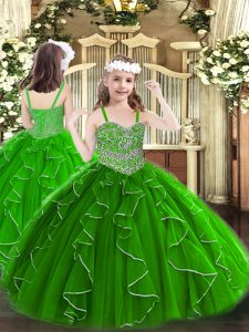 Green Organza Lace Up Straps Sleeveless Floor Length Pageant Dresses Beading and Ruffles