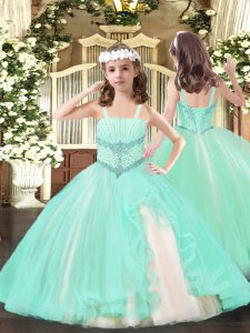 Charming Straps Sleeveless Tulle Kids Pageant Dress Beading Lace Up