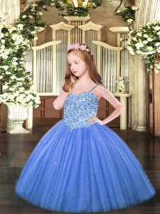 Beautiful Spaghetti Straps Sleeveless Tulle Child Pageant Dress Appliques Lace Up
