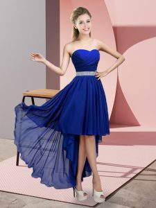 Traditional Royal Blue Court Dresses for Sweet 16 Prom and Party and Wedding Party with Beading Sweetheart Sleeveless Lace Up