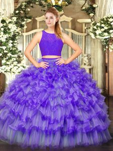 Floor Length Zipper Vestidos de Quinceanera Eggplant Purple for Military Ball and Sweet 16 and Quinceanera with Ruffled Layers