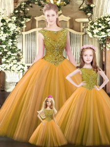 Traditional Orange Sleeveless Floor Length Beading Lace Up Quince Ball Gowns