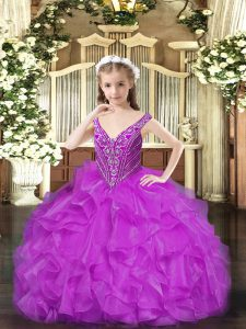 Sleeveless Beading and Ruffles Lace Up Custom Made Pageant Dress