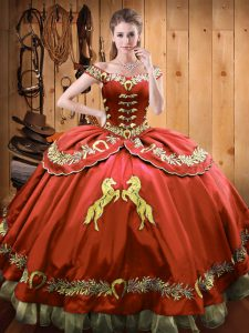 Rust Red Off The Shoulder Neckline Beading and Embroidery Quince Ball Gowns Sleeveless Lace Up