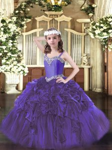 Purple Ball Gowns Straps Sleeveless Organza Floor Length Lace Up Beading and Ruffles Pageant Dress Wholesale