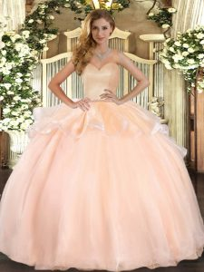 Peach Sweetheart Neckline Beading and Ruffles Quinceanera Gown Sleeveless Lace Up