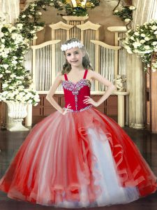 Fancy Sleeveless Tulle Floor Length Lace Up Pageant Gowns in Red with Beading