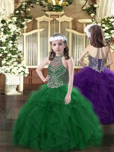 Dark Green Halter Top Lace Up Beading and Ruffles Pageant Dress for Teens Sleeveless