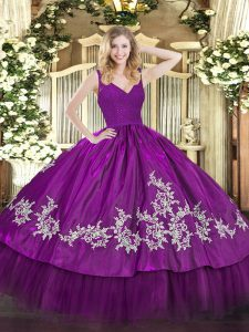 Sleeveless Taffeta Floor Length Backless 15 Quinceanera Dress in Fuchsia with Beading and Lace and Appliques