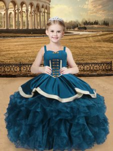 Straps Sleeveless Organza and Taffeta Kids Pageant Dress Beading and Ruffles Lace Up