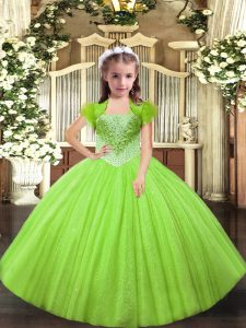 Yellow Green Lace Up Winning Pageant Gowns Beading Sleeveless Floor Length