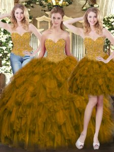 Olive Green Tulle Lace Up Sweet 16 Quinceanera Dress Sleeveless Floor Length Beading and Ruffles