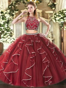 Floor Length Burgundy Quinceanera Gowns Tulle Sleeveless Beading and Ruffles