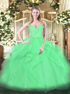 Green Tulle Zipper Quinceanera Dresses Sleeveless Floor Length Ruffles and Ruching
