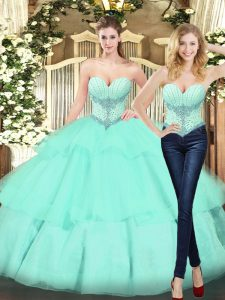 Fashionable Apple Green Ball Gowns Beading and Ruffled Layers Sweet 16 Quinceanera Dress Lace Up Organza Sleeveless Floor Length