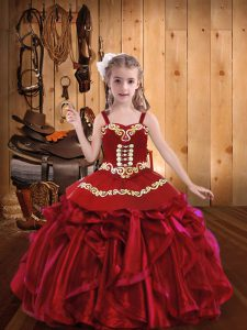 Red Sleeveless Embroidery and Ruffles Little Girls Pageant Dress