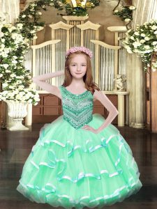 Floor Length Lace Up Kids Pageant Dress Apple Green for Party and Quinceanera with Beading and Ruffled Layers