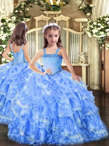 New Arrival Baby Blue Organza Lace Up Pageant Dress for Teens Sleeveless Floor Length Appliques and Ruffled Layers